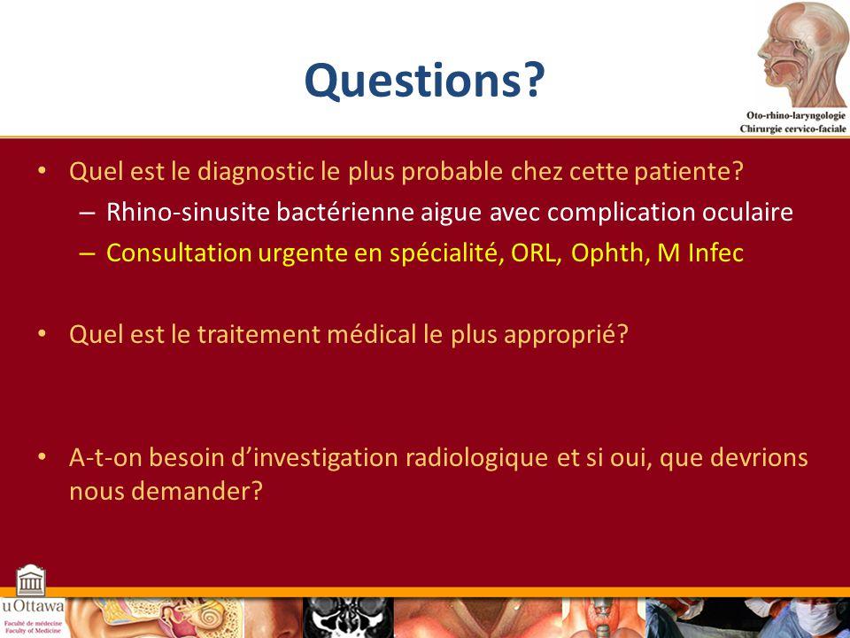 Questions Quel est le diagnostic le plus probable chez cette patiente Rhino-sinusite bactérienne aigue avec complication oculaire.