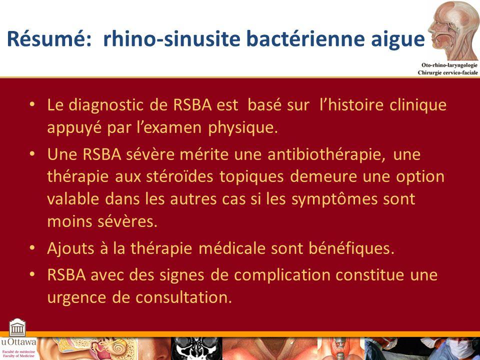 Résumé: rhino-sinusite bactérienne aigue