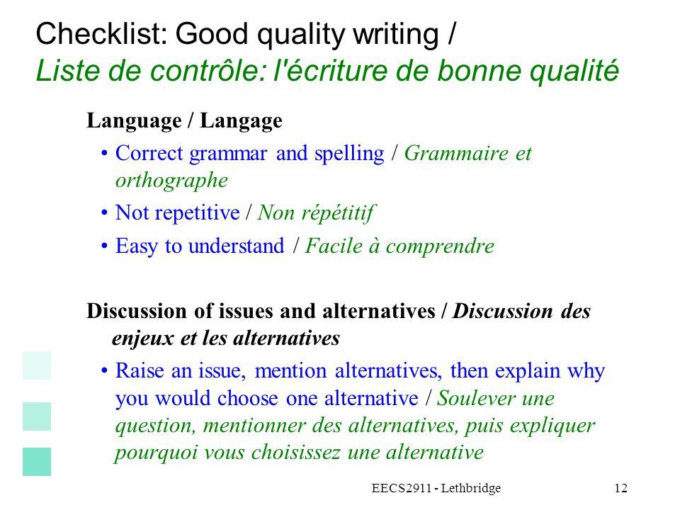 Checklist: Good quality writing / Liste de contrôle: l écriture de bonne qualité