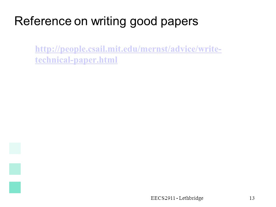 Reference on writing good papers