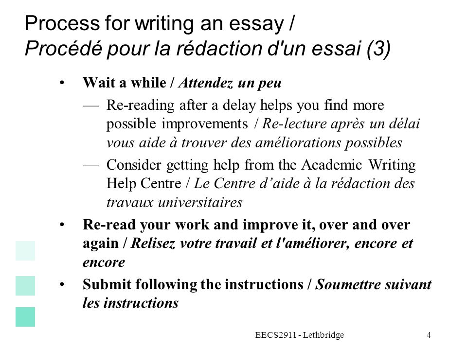 Process for writing an essay / Procédé pour la rédaction d un essai (3)