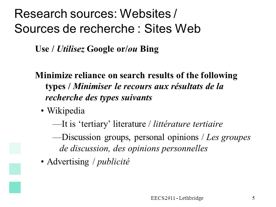 Research sources: Websites / Sources de recherche : Sites Web