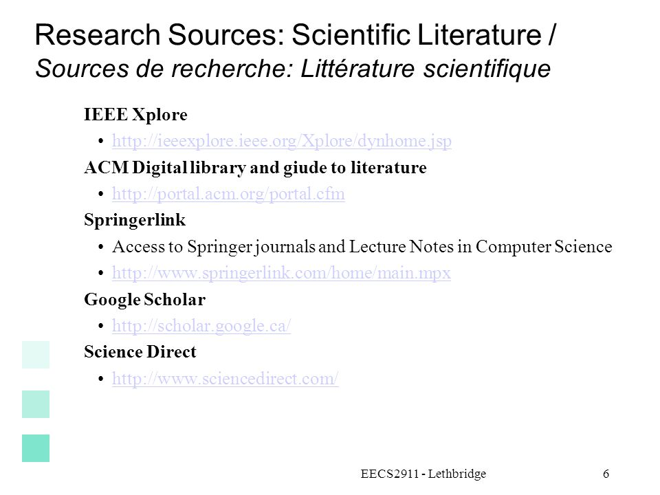 Research Sources: Scientific Literature / Sources de recherche: Littérature scientifique