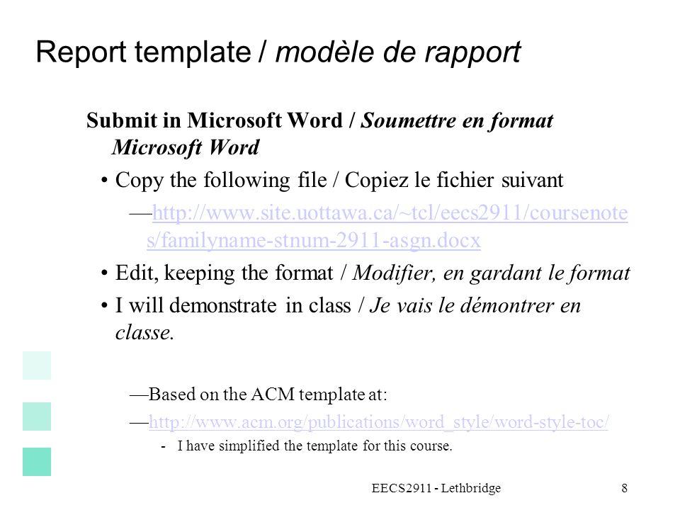 Report template / modèle de rapport