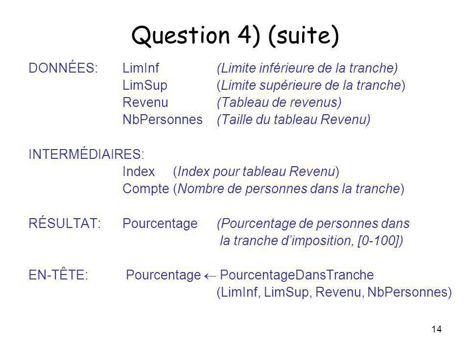 Question 4) (suite) DONNÉES: LimInf (Limite inférieure de la tranche)