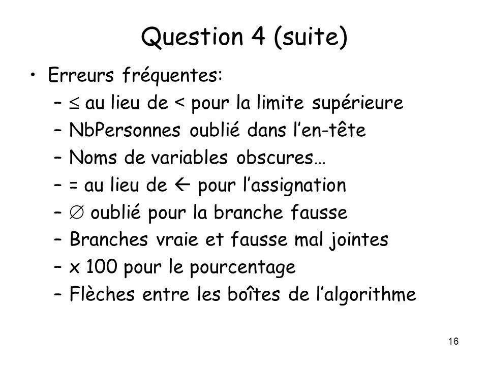 Question 4 (suite) Erreurs fréquentes: