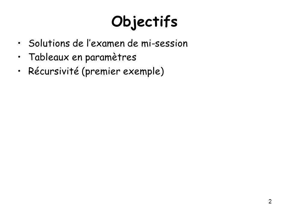 Objectifs Solutions de l'examen de mi-session Tableaux en paramètres