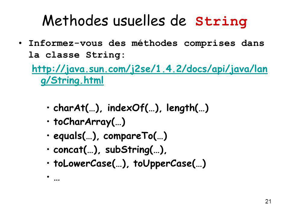 Methodes usuelles de String
