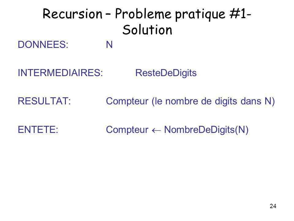 Recursion – Probleme pratique #1- Solution
