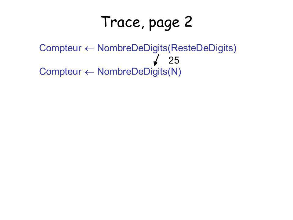 Trace, page 2 Compteur  NombreDeDigits(ResteDeDigits)