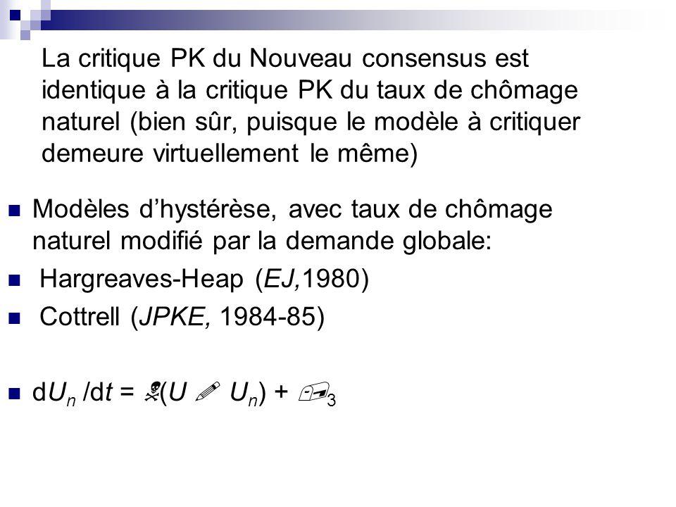 La critique PK du Nouveau consensus est identique à la critique PK du taux de chômage naturel (bien sûr, puisque le modèle à critiquer demeure virtuellement le même)