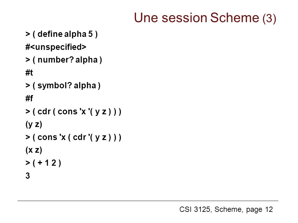 Une session Scheme (3) > ( define alpha 5 ) #<unspecified>