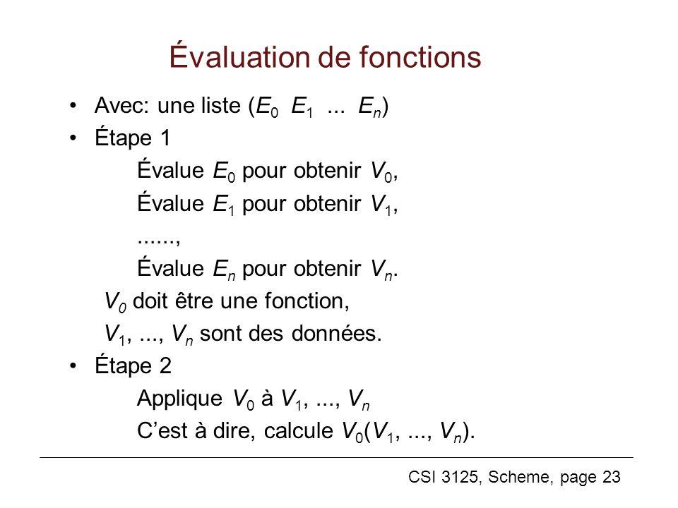 Évaluation de fonctions
