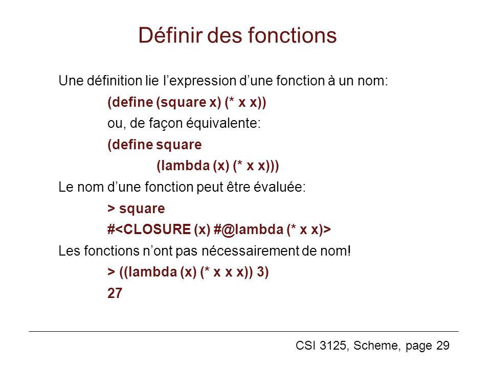 Définir des fonctions Une définition lie l'expression d'une fonction à un nom: (define (square x) (* x x))