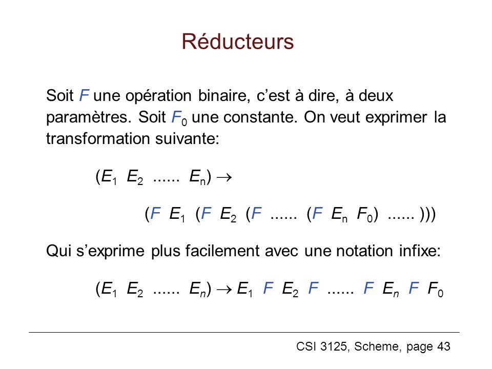 Réducteurs Soit F une opération binaire, c'est à dire, à deux paramètres. Soit F0 une constante. On veut exprimer la transformation suivante: