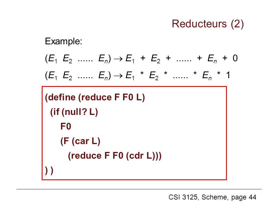 Reducteurs (2) Example: (E1 E2 ...... En)  E1 + E2 + ...... + En + 0