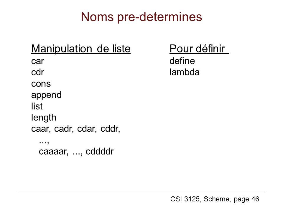 Noms pre-determines Manipulation de liste Pour définir car cdr cons