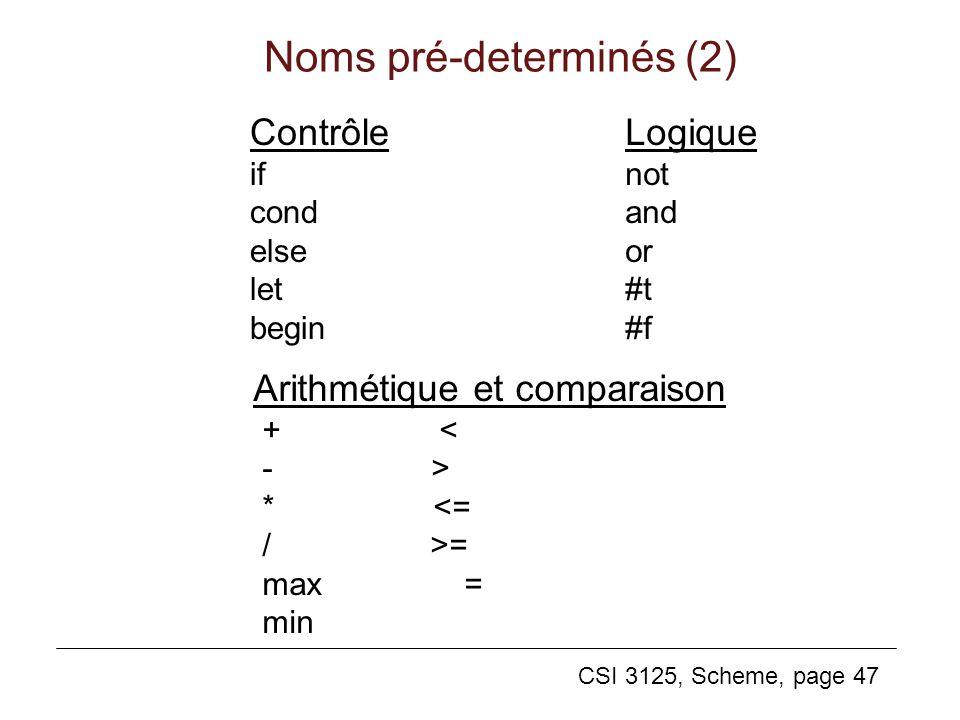 Noms pré-determinés (2)