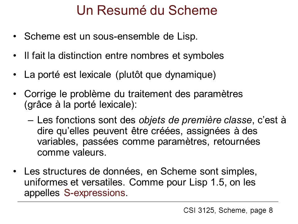 Un Resumé du Scheme Scheme est un sous-ensemble de Lisp.