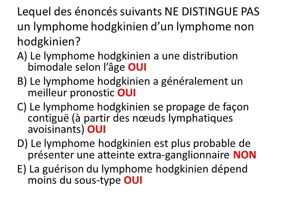 Lequel des énoncés suivants NE DISTINGUE PAS un lymphome hodgkinien d'un lymphome non hodgkinien