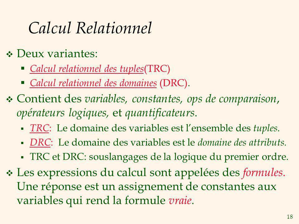 Calcul Relationnel Deux variantes: