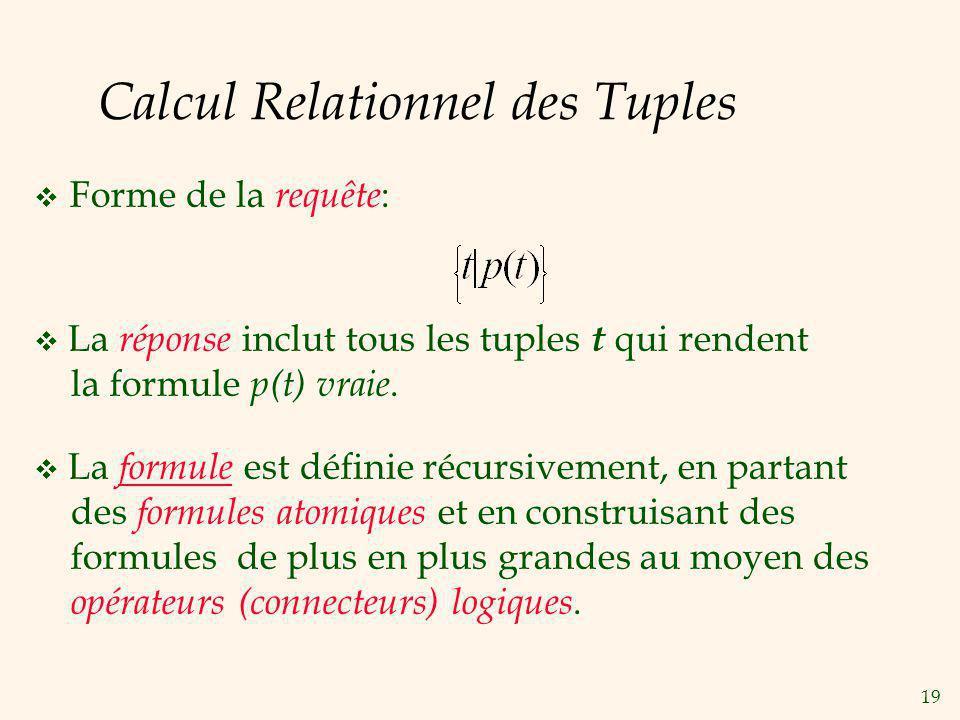 Calcul Relationnel des Tuples