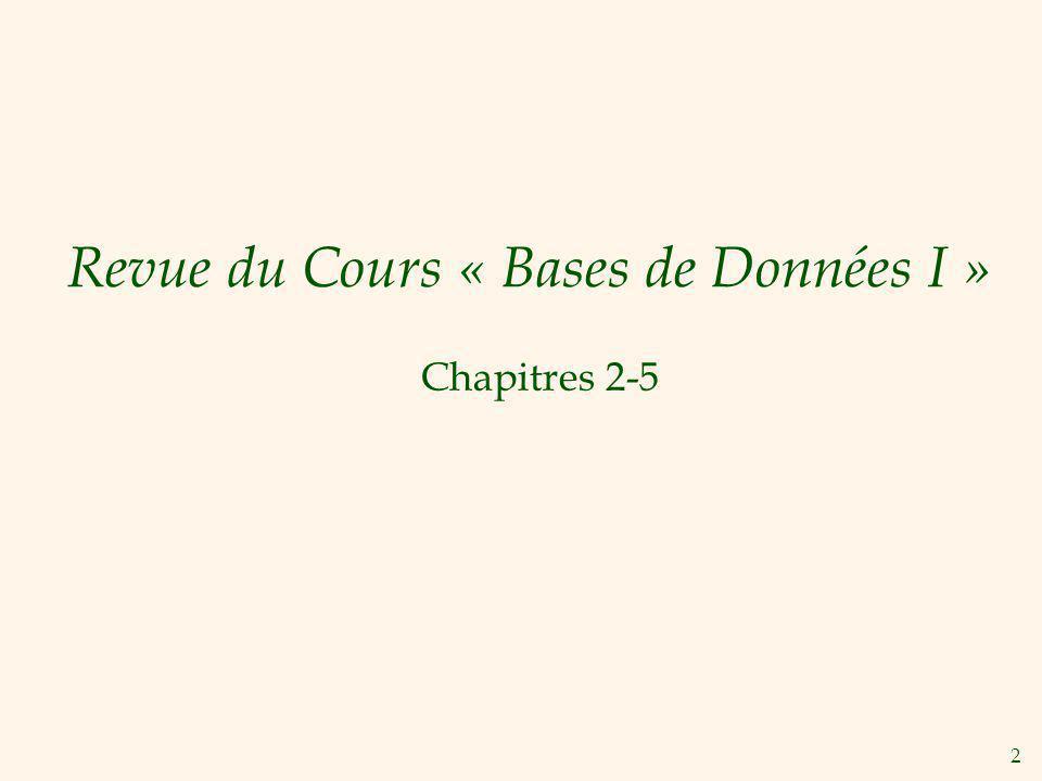 Revue du Cours « Bases de Données I »