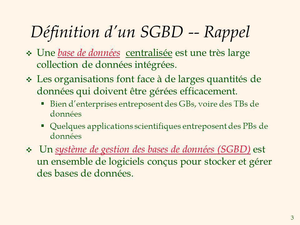 Définition d'un SGBD -- Rappel