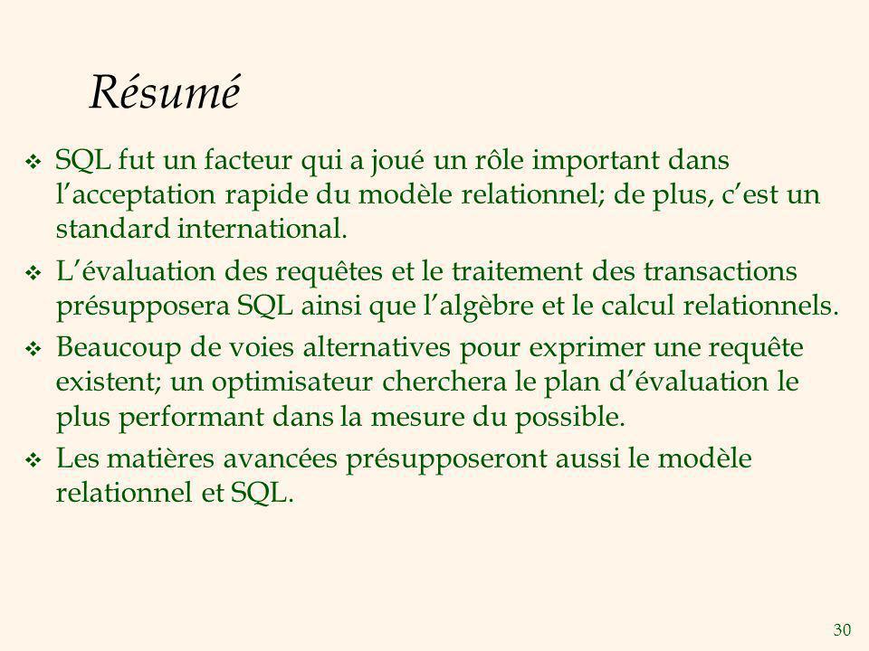 Résumé SQL fut un facteur qui a joué un rôle important dans l'acceptation rapide du modèle relationnel; de plus, c'est un standard international.