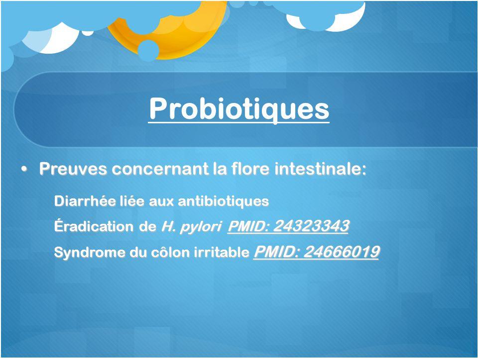 Probiotiques Preuves concernant la flore intestinale: