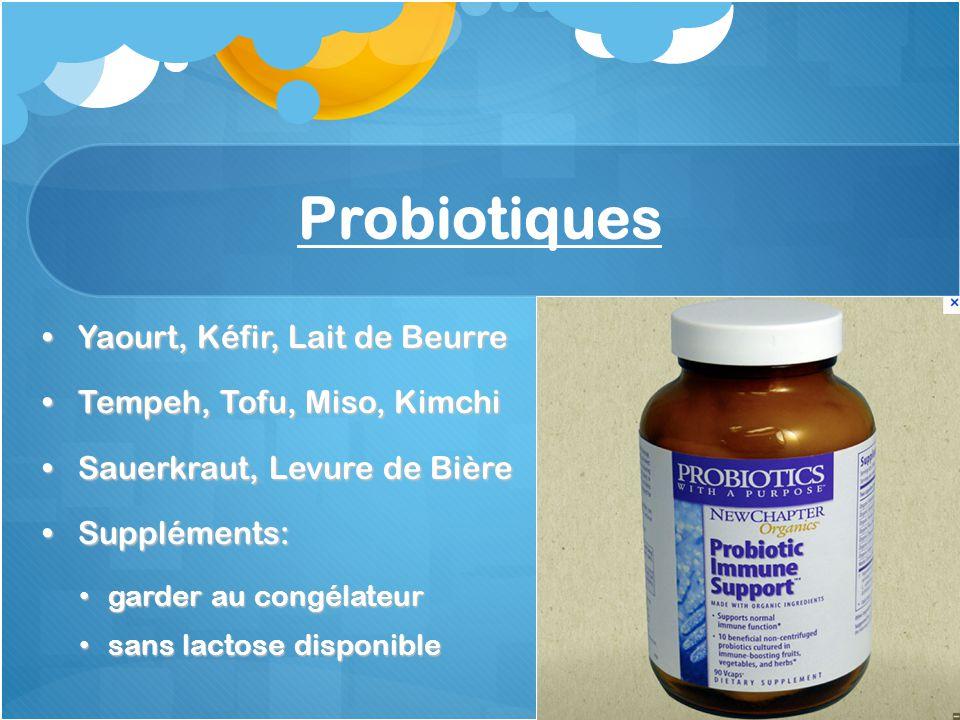 Probiotiques Yaourt, Kéfir, Lait de Beurre Tempeh, Tofu, Miso, Kimchi