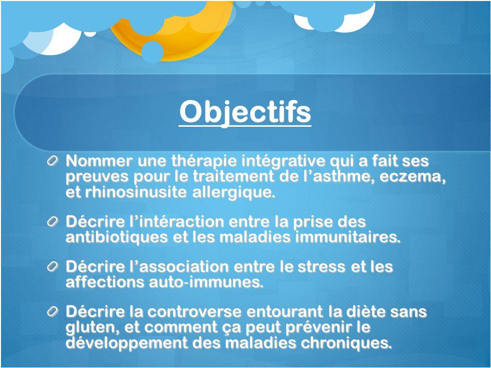 Objectifs Nommer une thérapie intégrative qui a fait ses preuves pour le traitement de l'asthme, eczema, et rhinosinusite allergique.