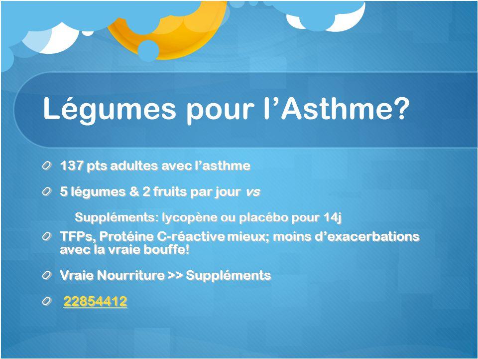 Légumes pour l'Asthme 137 pts adultes avec l'asthme