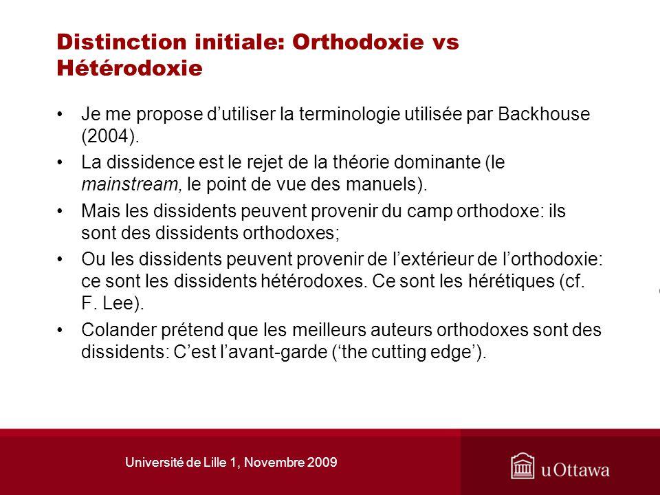 Distinction initiale: Orthodoxie vs Hétérodoxie