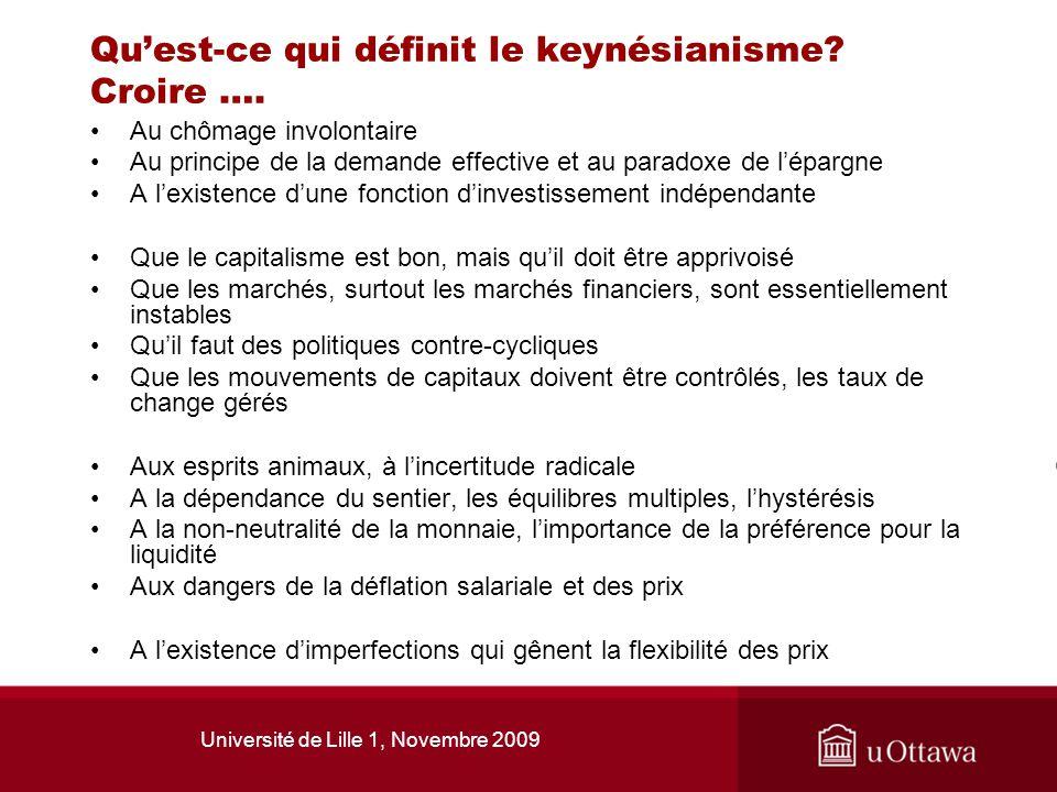 Qu'est-ce qui définit le keynésianisme Croire ….