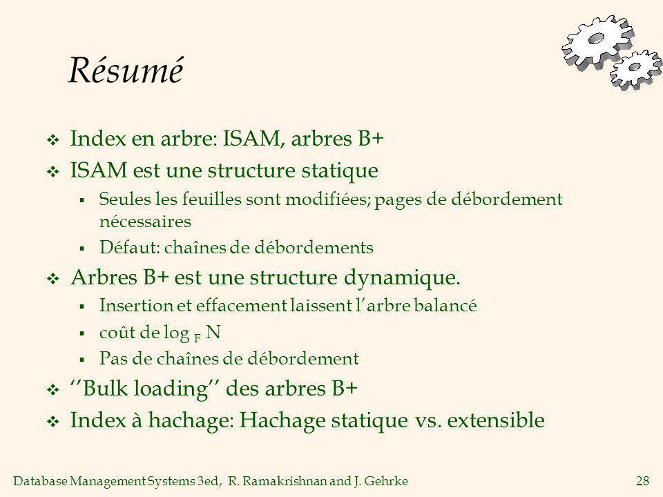 Résumé Index en arbre: ISAM, arbres B+ ISAM est une structure statique