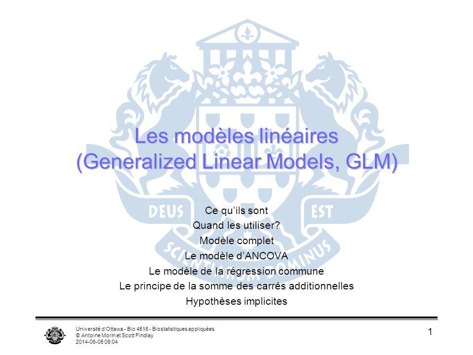 Les modèles linéaires (Generalized Linear Models, GLM)
