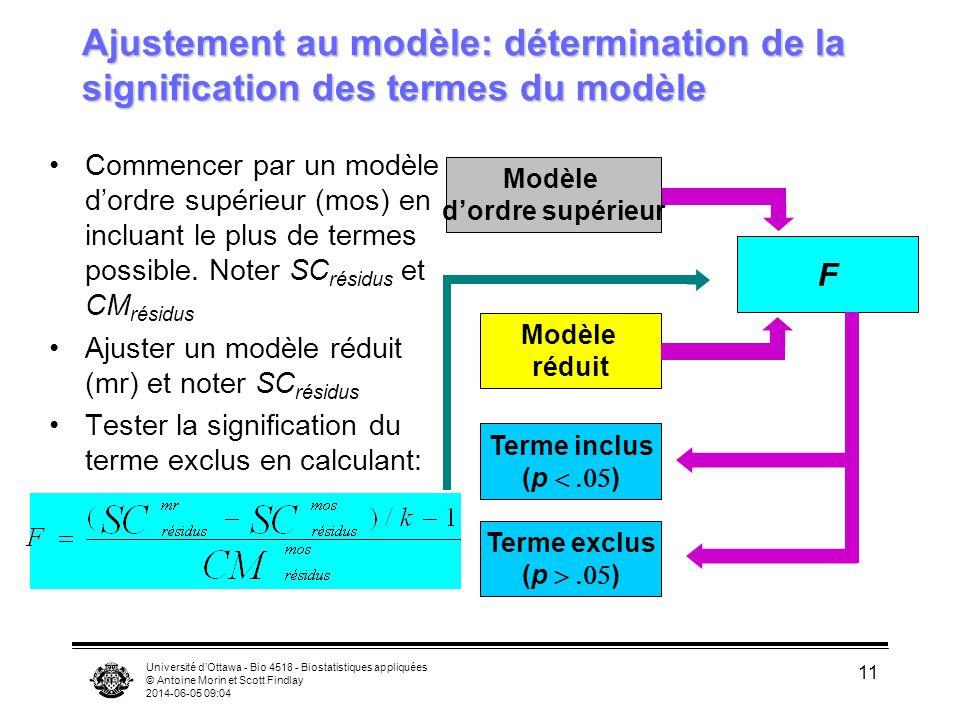 Ajustement au modèle: détermination de la signification des termes du modèle