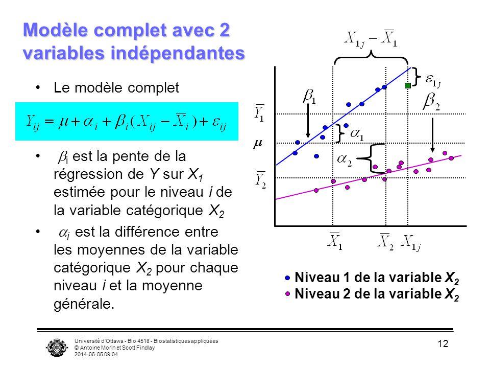 Modèle complet avec 2 variables indépendantes