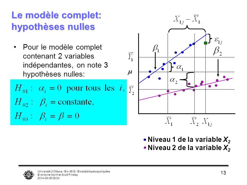 Le modèle complet: hypothèses nulles
