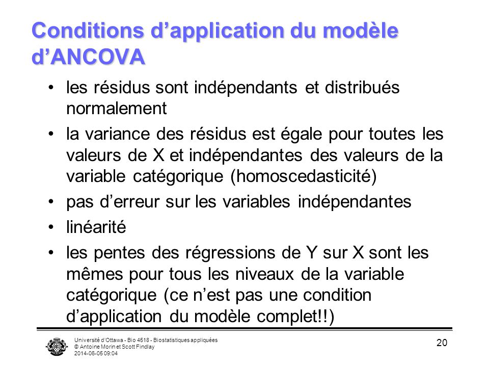 Conditions d'application du modèle d'ANCOVA