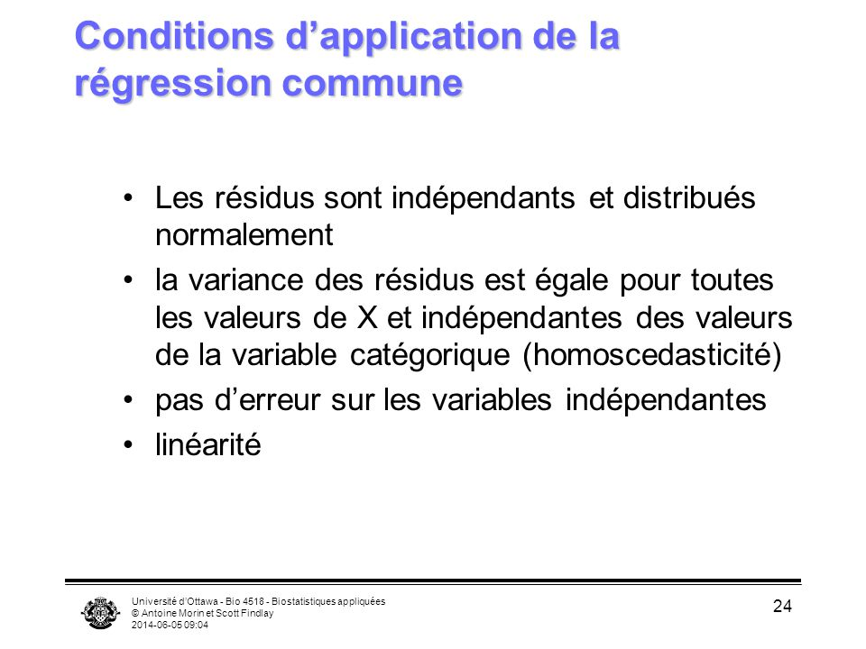 Conditions d'application de la régression commune