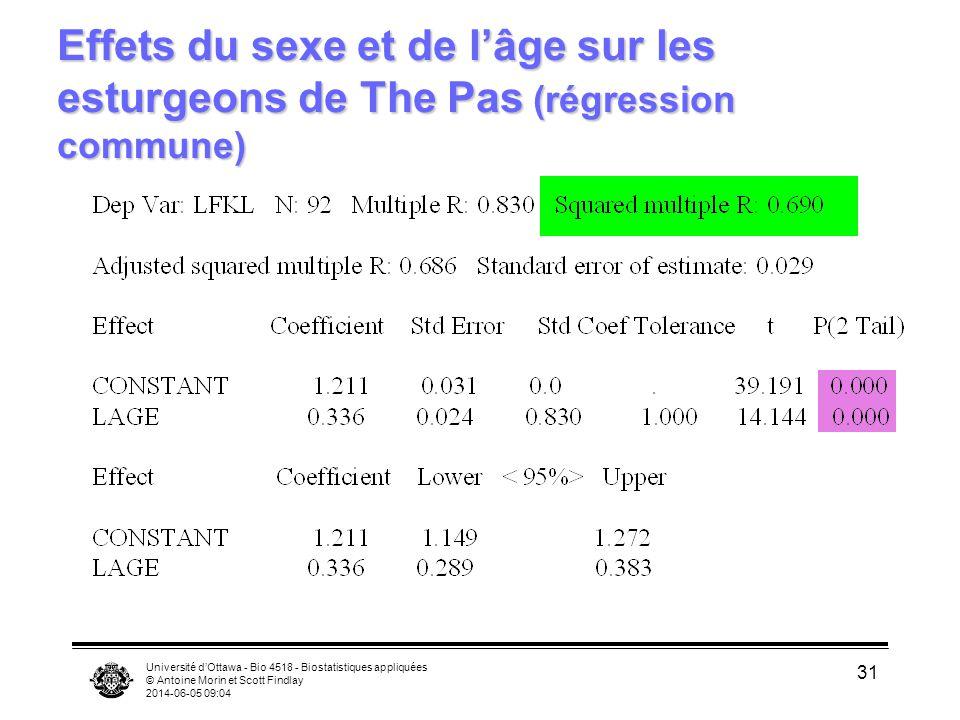 Effets du sexe et de l'âge sur les esturgeons de The Pas (régression commune)