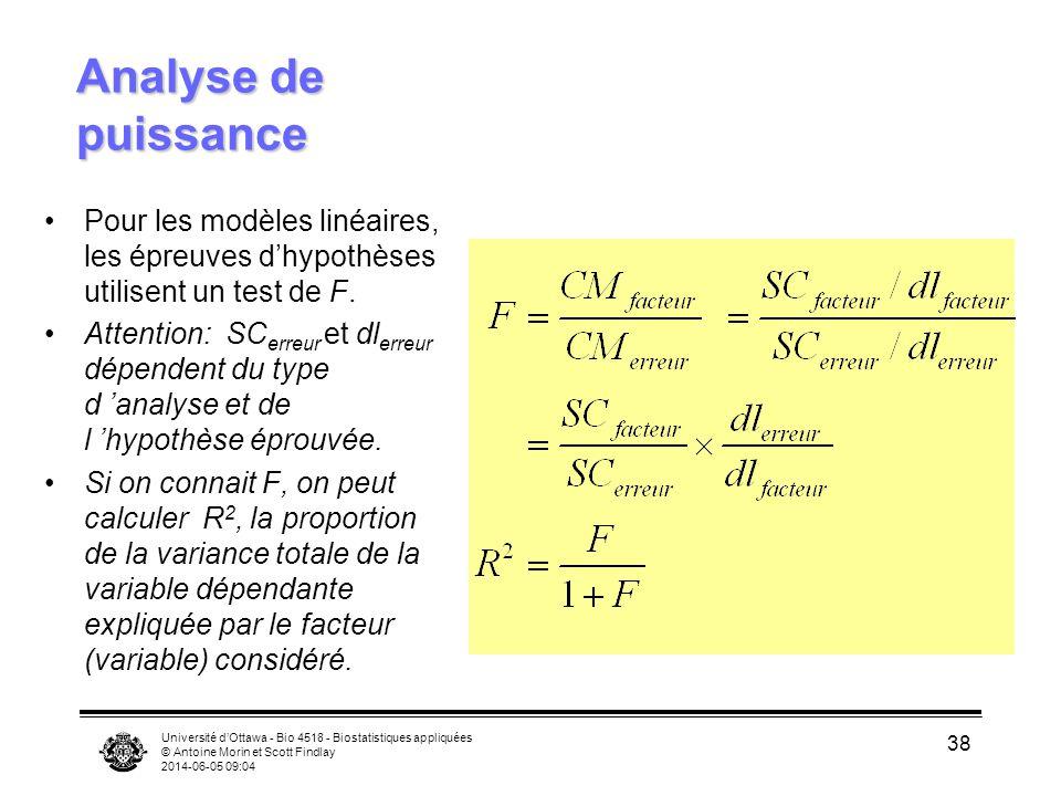 Analyse de puissance Pour les modèles linéaires, les épreuves d'hypothèses utilisent un test de F.