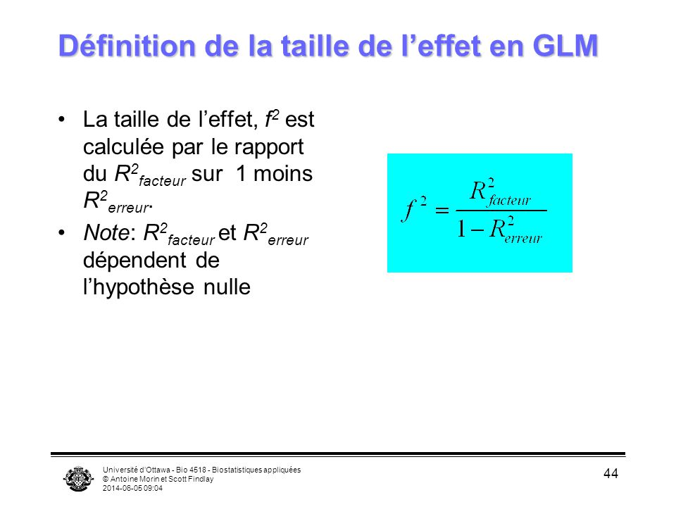 Définition de la taille de l'effet en GLM