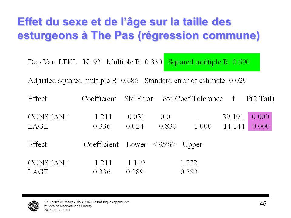 Effet du sexe et de l'âge sur la taille des esturgeons à The Pas (régression commune)