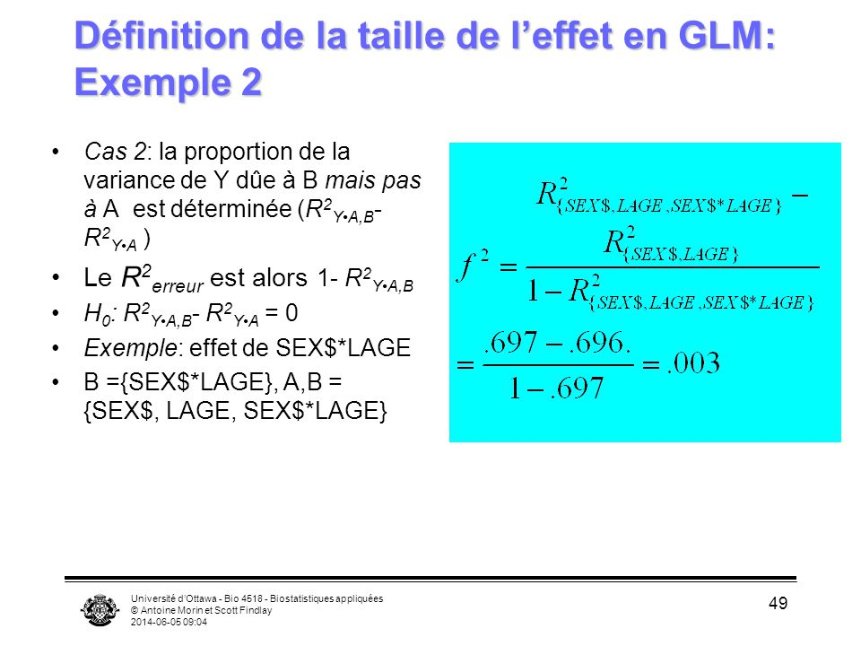 Définition de la taille de l'effet en GLM: Exemple 2