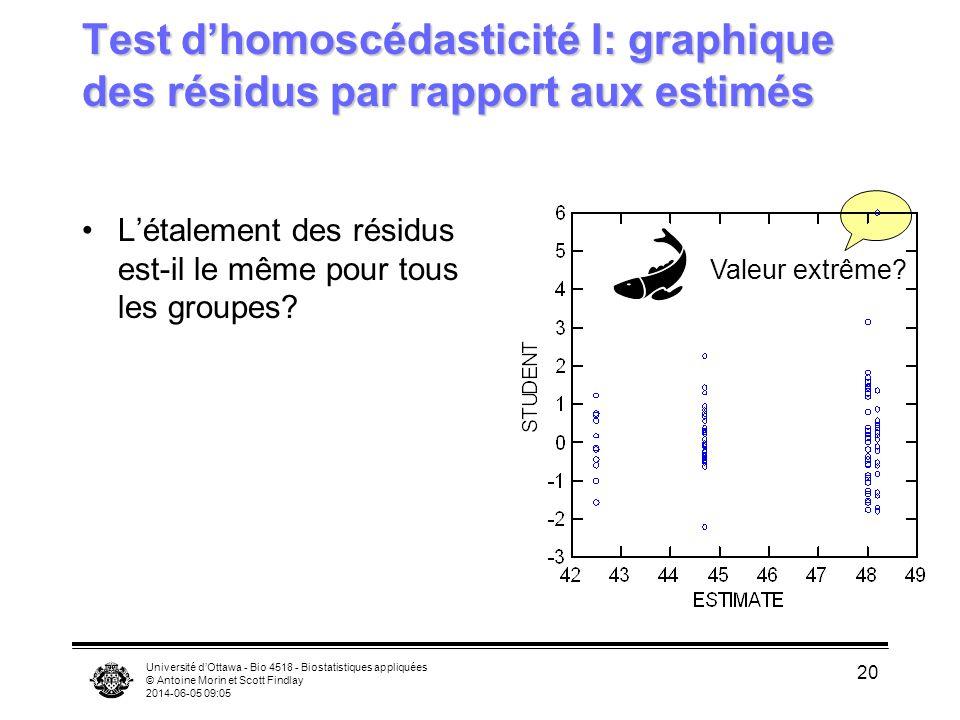 Test d'homoscédasticité I: graphique des résidus par rapport aux estimés