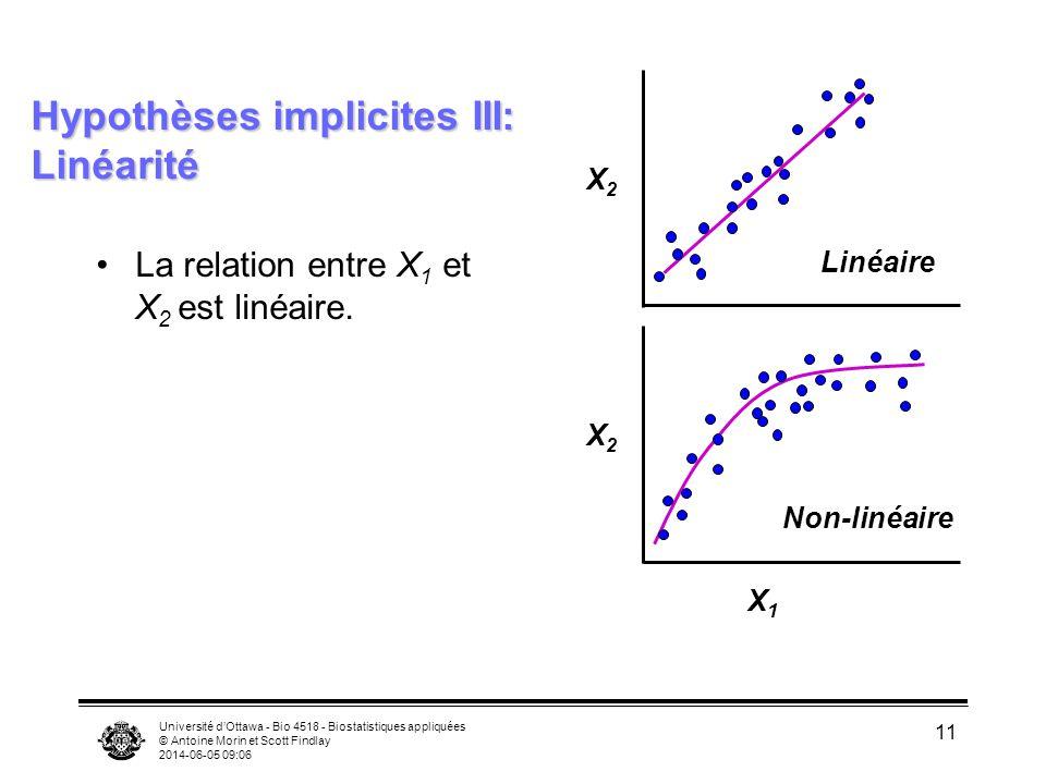 Hypothèses implicites III: Linéarité