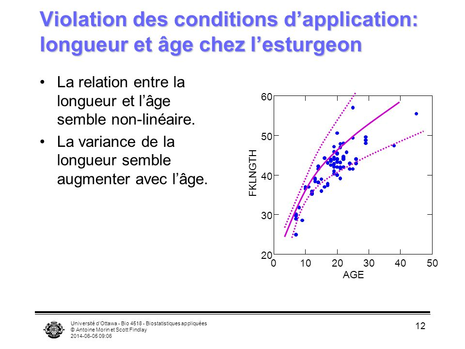 Violation des conditions d'application: longueur et âge chez l'esturgeon